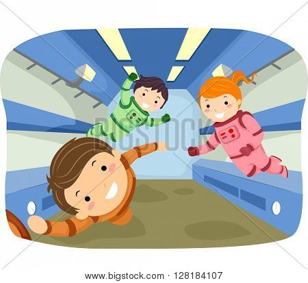 Stickman Illustration of Kids Playing in Zero Gravity