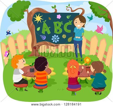 Stickman Illustration of Kids Having Their Class in the Garden