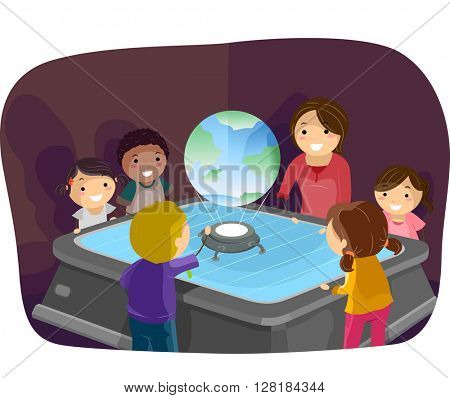Stickman Illustration of Kids Using a Hologram in Class