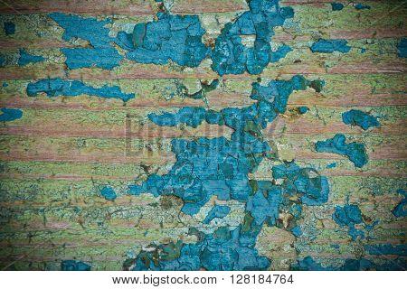 Old vintage blue wooden texture background, close-up.