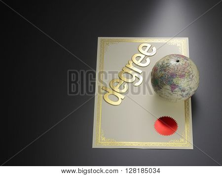 desk globe on the degree certificate