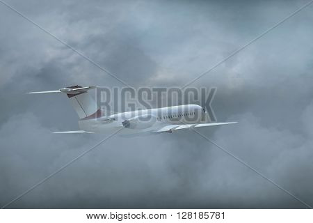 Airplane flying on the sky with clouds