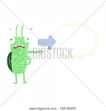 freehand retro cartoon bug pointing