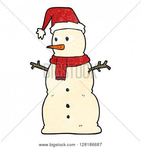 freehand retro cartoon snowman