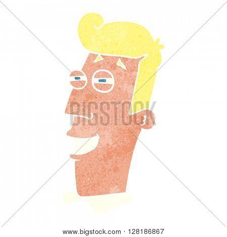 freehand retro cartoon grinning man