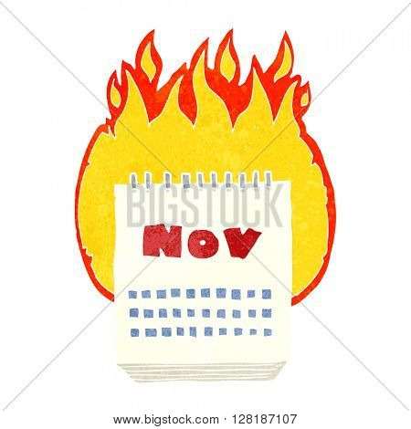freehand retro cartoon calendar showing month of november