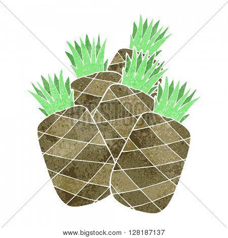 freehand retro cartoon pineapples