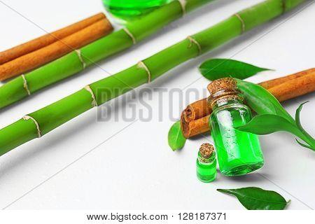Bottles of tea oil and cinnamon, isolated on white