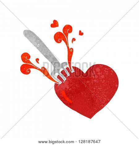 freehand retro cartoon fork in heart