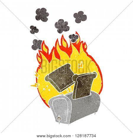 freehand retro cartoon burning toaster