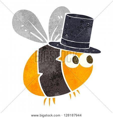 freehand retro cartoon bee top hat