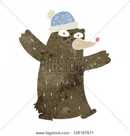 freehand retro cartoon bear wearing hat