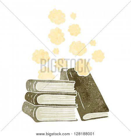 freehand retro cartoon stack of books
