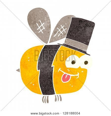 freehand retro cartoon bee wearing hat