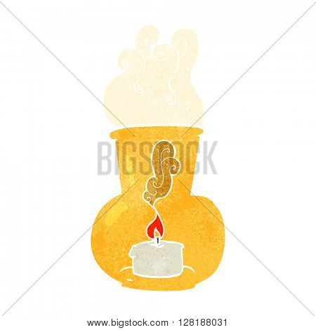 freehand retro cartoon old glass lantern with candle