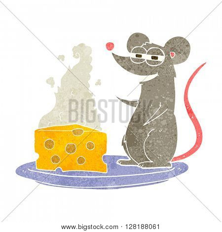 freehand retro cartoon mouse with cheese