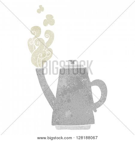 freehand retro cartoon steaming coffee kettle