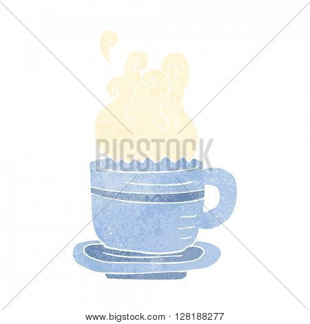 freehand retro cartoon cup and saucer