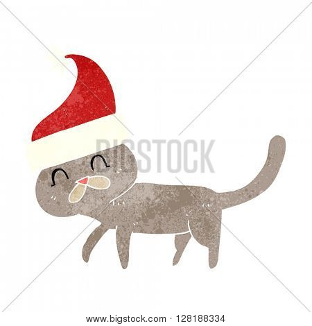 freehand retro cartoon cat wearing christmas hat