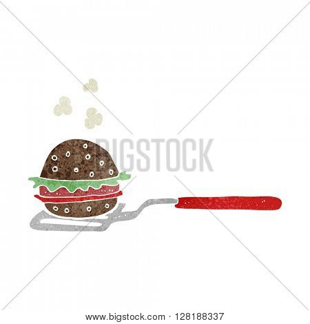 freehand retro cartoon spatula with burger