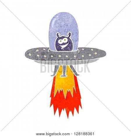 freehand retro cartoon space alien