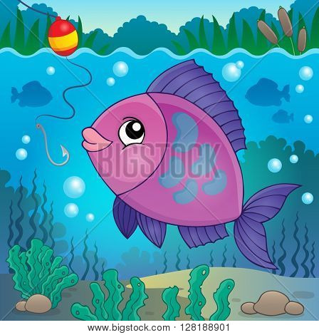 Freshwater fish topic image 6 - eps10 vector illustration.