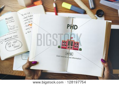 PHD Doctor of Philosophy Knowledge Education Concept poster