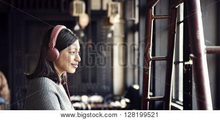 Headphone Listening Song Playlist Asian Ethnicity Concept