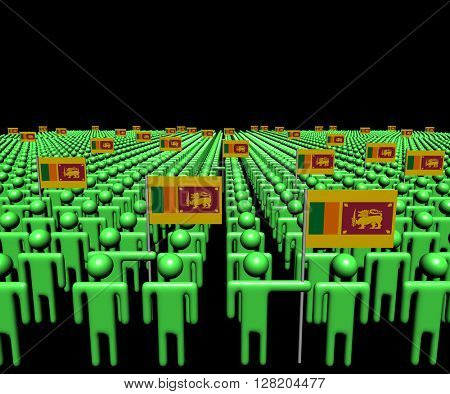 Crowd of abstract people with many Sri Lankan flags 3d illustration