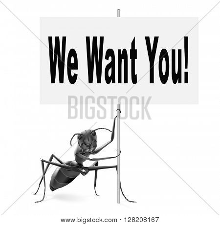 we want you weâ??r hiring new recruits for a job vacancy poster