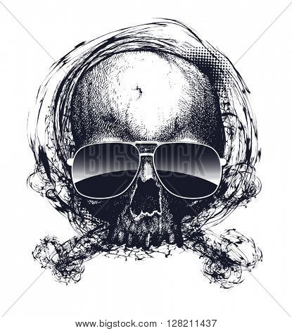 Black and white human skull with sunglasses. Hand drawn vector illustration