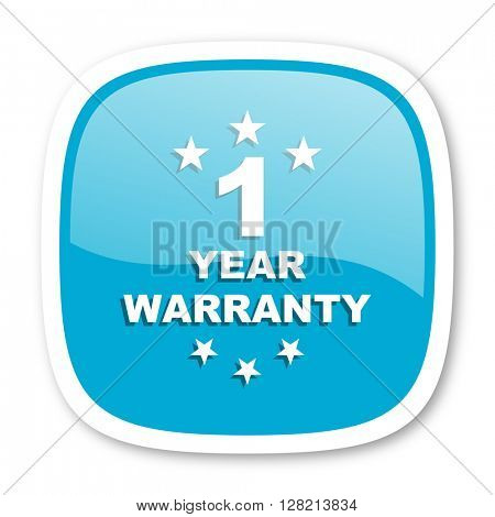 warranty guarantee 1 year blue glossy icon