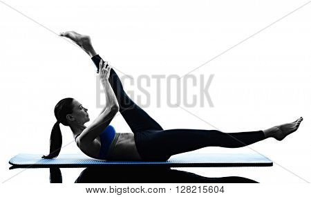 woman pilates exercises fitness isolated poster