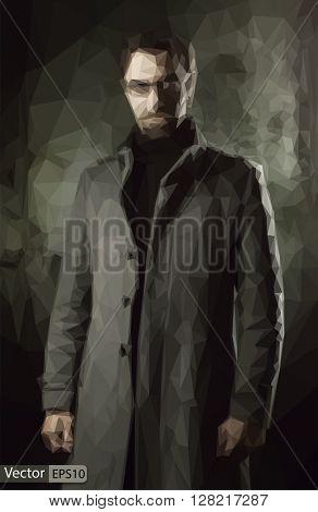 Vector low poly handsome man in black coat over dark wall
