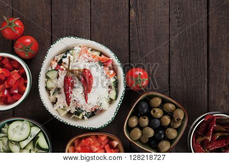 Shopska salad with cheese and vegetables, classic of bulgarian and balkans cuisine