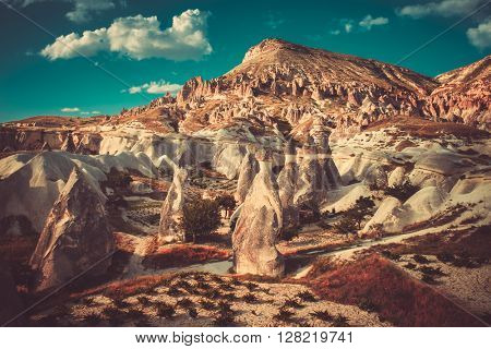 Rocks formations of Cappadocia in Central Anatolia, Turkey