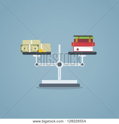 Weigher with books on one side and money on the other side.