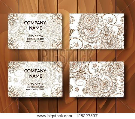 Vintage business vector photo free trial bigstock vintage business cards set ornamental mandala indian arabic ornaments mehndi henna tattoo design stopboris Gallery