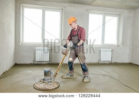 floor machine grinding by power trowel