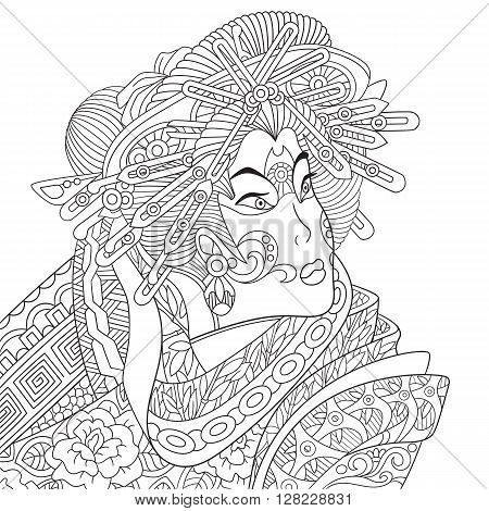 Zentangle stylized cartoon geisha woman (japanese dancing actress). Hand drawn sketch for adult antistress coloring page T-shirt emblem logo or tattoo with doodle zentangle floral design elements.