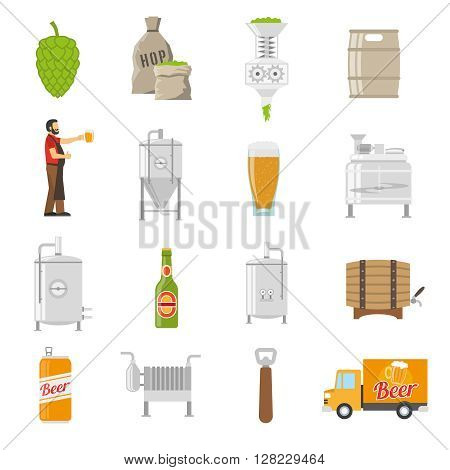 Brewery Icons Set. Brewery Vector Illustration. Brewery Flat Symbols. Brewery Design Set. Brewery Elements Collection.