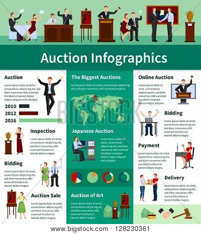 Upcoming international biggest auctions sales lists bids calendar and information worldwide flat infographic banner abstract vector illustration