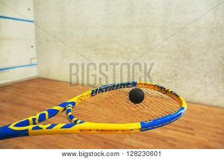 Closeup of squash racket and one ball on it represented in man's hand. Special equipment for entertaining is ready.