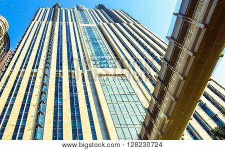 Dubai U.A.E. - November 15 2006: Detail of the architectures of the business area of the Sheik Zaied Road.