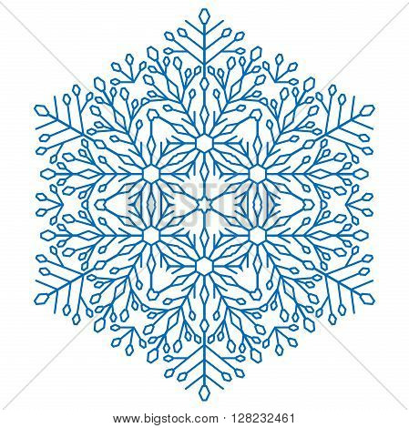 Round vector snowflake. Abstract winter snowflake. Light blue snowflake. Round snowflake. Fine blue snowflake