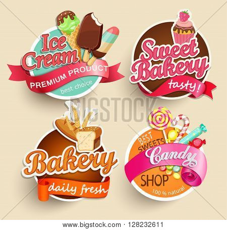 Food Label or Sticker - bakery, ice cream, candy, sweet bakery - Design Template. Vector illustration.