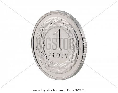 One Polish Zloty coin isolated on white with clipping path