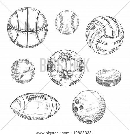 Sketched sporting balls for soccer or football, baseball, basketball, american football, volleyball, tennis, bowling and puck for ice hockey. Sporting items isolated icons for sport competition or team mascot design usage
