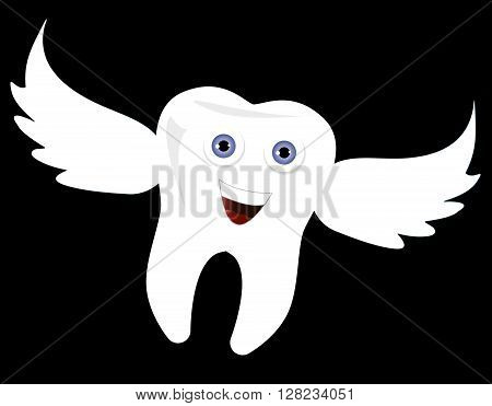 Funny cute Tooth Fairy flying. Happy white tooth dental care clipart. Vector illustration