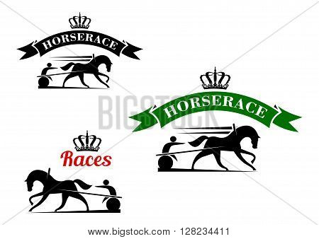 Equestrian sport competition icons for harness racing design template with running horses in horse harness with lightweight two wheeled carts, supplemented crowned ribbon banners above